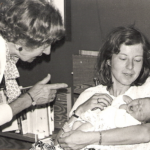 mum, grandma and me as a newborn baby in the Netherlands